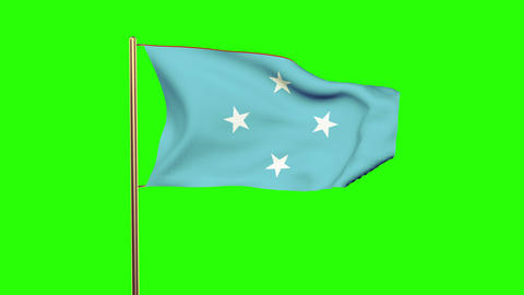 Micronesia flag waving in the wind. Green screen, alpha matte. Loopable animatio CG動画