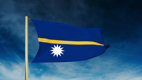 Nauru flag slider style. Waving in the win with cloud background animation Animation