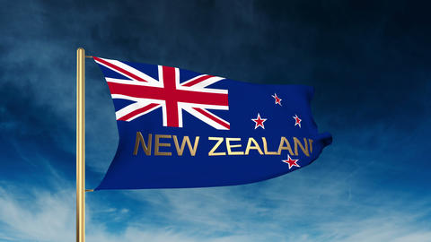 New Zealand flag slider style with title. Waving in the wind with cloud backgrou Animation