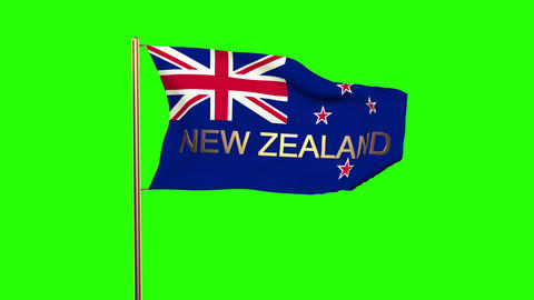 New Zealand flag with title waving in the wind. Looping sun rises style. Animati Animation