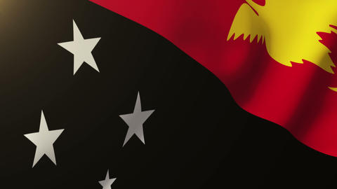 Papua New Guinea flag waving in the wind. Looping sun rises style. Animation loo Animation