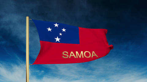 Samoa flag slider style with title. Waving in the wind with cloud background ani Animation