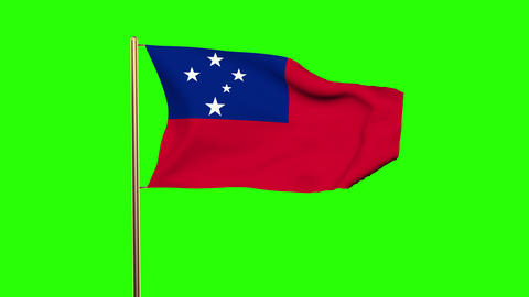 Samoa flag waving in the wind. Green screen, alpha matte. Loopable animation Animation