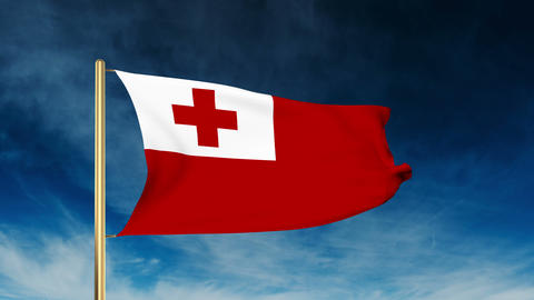Tonga flag slider style. Waving in the win with cloud background animation Animation
