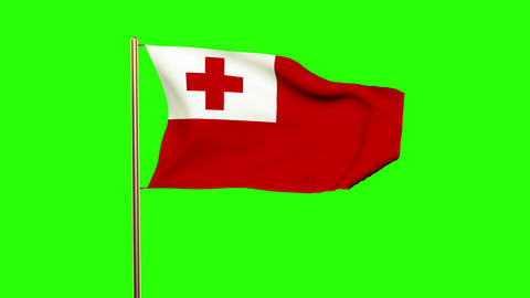 Tonga flag waving in the wind. Green screen, alpha matte. Loopable animation Animation