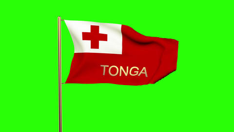 Tonga flag with title waving in the wind. Looping sun rises style. Animation loo Animation
