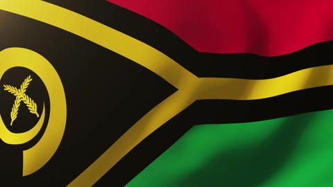 Vanuatu flag waving in the wind. Looping sun rises style. Animation loop Animation