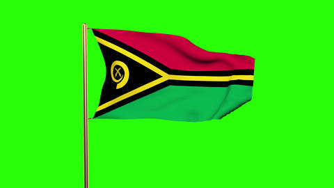 Vanuatu flag waving in the wind. Green screen, alpha matte. Loopable animation Animation