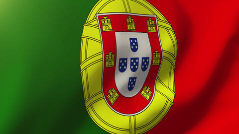 Portugal flag waving in the wind. Looping sun rises style. Animation loop Animation