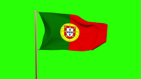 Portugal flag waving in the wind. Looping sun rises style. Animation loop. Green Animation