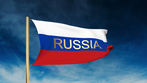 Russia flag slider style with title. Waving in the wind with cloud background an Animation