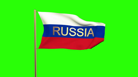 Russia flag with title waving in the wind. Looping sun rises style. Animation lo Animation