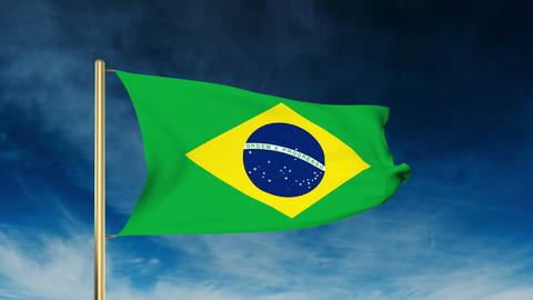 Brazil flag slider style. Waving in the win with cloud background animation Animation