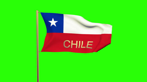 Chile flag with title waving in the wind. Looping sun rises style. Animation loo Animation