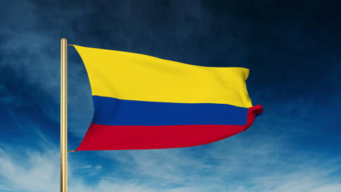 Colombia flag slider style. Waving in the win with cloud background animation Animation