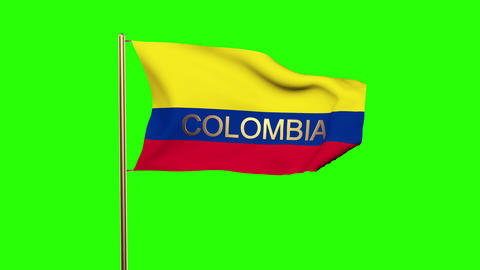 Colombia flag with title waving in the wind. Looping sun rises style. Animation  Animation