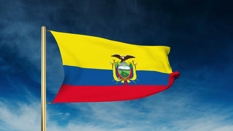 Ecuador flag slider style. Waving in the win with cloud background animation Animation