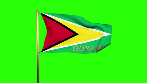 Guyana flag with title waving in the wind. Looping sun rises style. Animation lo Animation