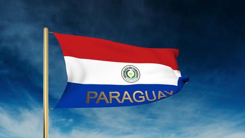 Paraguay flag slider style with title. Waving in the wind with cloud background  Animation