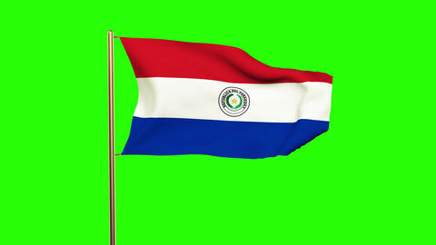 Paraguay flag waving in the wind. Green screen, alpha matte. Loopable animation Animation