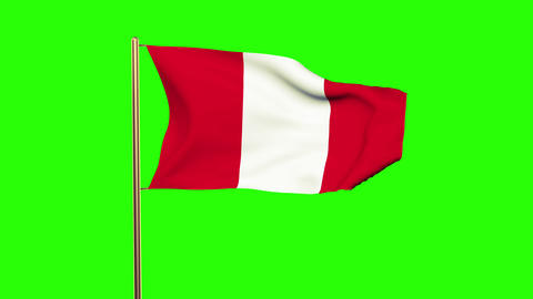 Peru flag waving in the wind. Green screen, alpha matte. Loopable animation CG動画