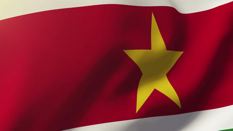 Suriname flag waving in the wind. Looping sun rises style. Animation loop Animation