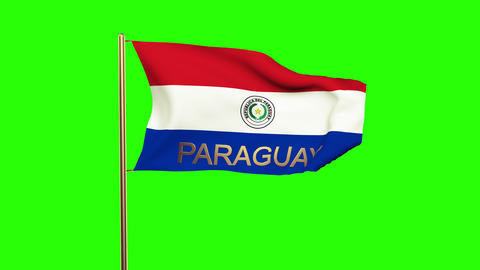 Paraguay flag with title waving in the wind. Looping sun rises style. Animation  Animation