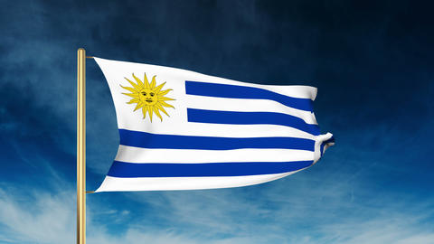 Uruguay flag slider style. Waving in the win with cloud background animation Animation