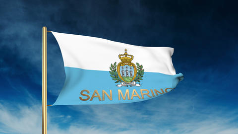 San Marino flag slider style with title. Waving in the wind with cloud backgroun Animation
