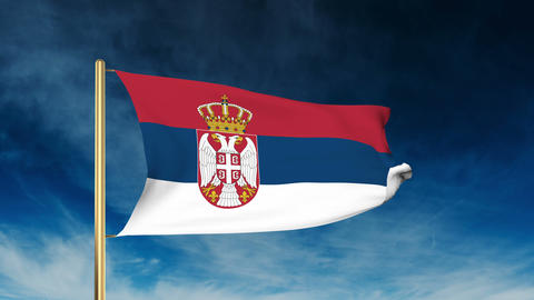 Serbia flag slider style. Waving in the wind with cloud background animation Animation