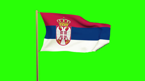 Serbia flag waving in the wind. Looping sun rises style. Animation loop. Green s Animation