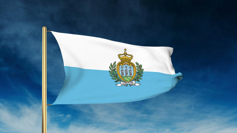 San Marino flag slider style. Waving in the wind with cloud background animation Animation