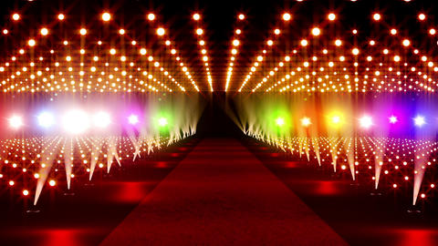 On The Red Carpet 17 colorful lights Stock Video Footage