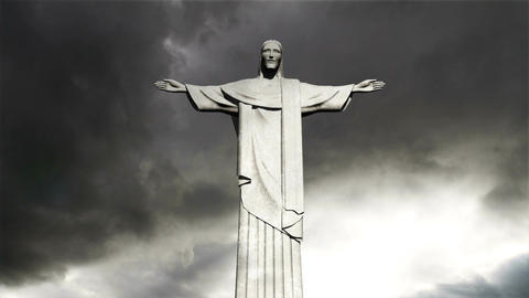 Rio Jesus Clouds Timelapse 04 Stock Video Footage