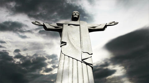 Rio Jesus Clouds Timelapse 12 Stock Video Footage