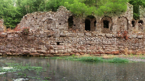 Ancient water arc ruins Stock Video Footage