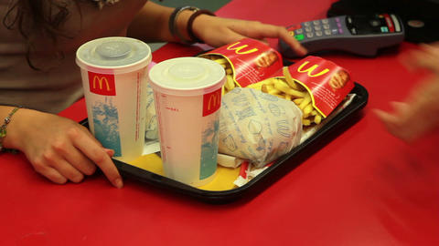 ordering in Mcdonald's Stock Video Footage