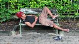 homeless man sleep on bench Footage