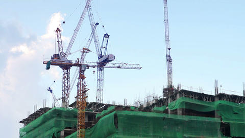 construction with crane Stock Video Footage