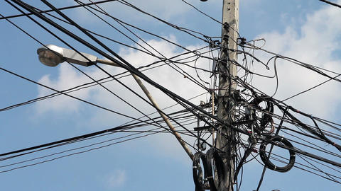 Messy electric cables Stock Video Footage
