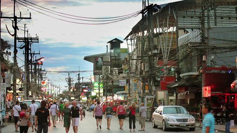 Massage streets of Phuket, Thailand Stock Video Footage