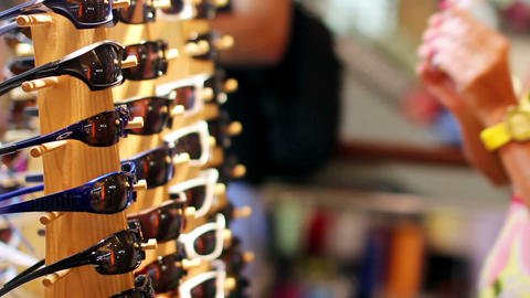 eyeglasses in shopping center Stock Video Footage