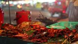 Spicy Thai foods on street Stock Video Footage