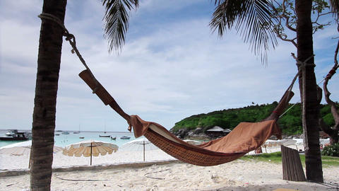 empty hammock in an exotic beach Filmmaterial
