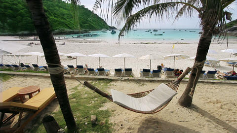 empty hammock in an exotic beach Stock Video Footage