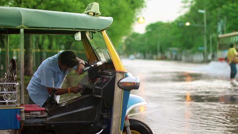 Broken car in flood Stock Video Footage