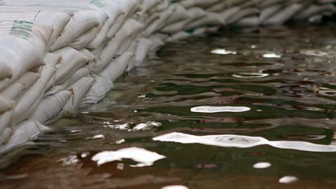 Sandbags to stop flood Stock Video Footage