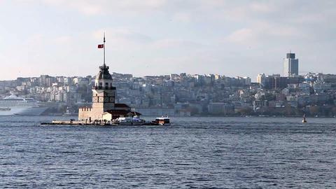 view of istanbul kizkulesi Stock Video Footage