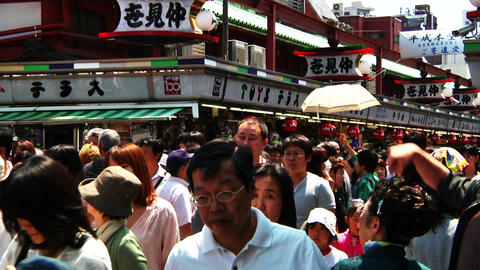 Crowd Tokyo Asakusa SlowMotion 80fps 03 Stock Video Footage
