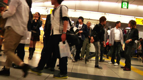 Crowd Tokyo Subway SlowMotion 60fps 18 Stock Video Footage